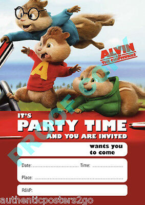 #28 ALVIN AND THE CHIPMUNKS Pack of 10 kids children birthday party INVITATIONS