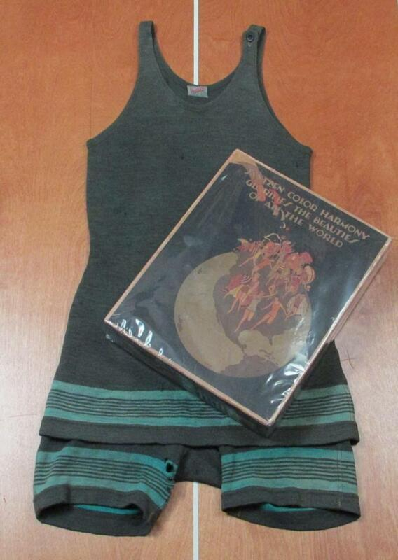 Vintage 1920s Jantzen Green Wool Swimsuit w/Orig.Box Antique Bathing Suit Beach
