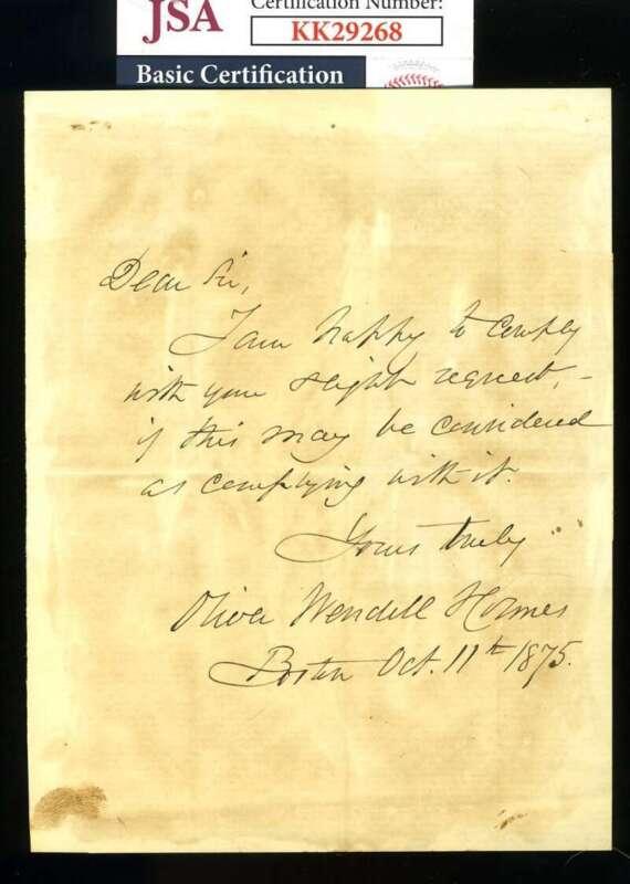 Oliver Wendell Holmes Jr JSA Coa Hand Signed 1875 Letter Autograph