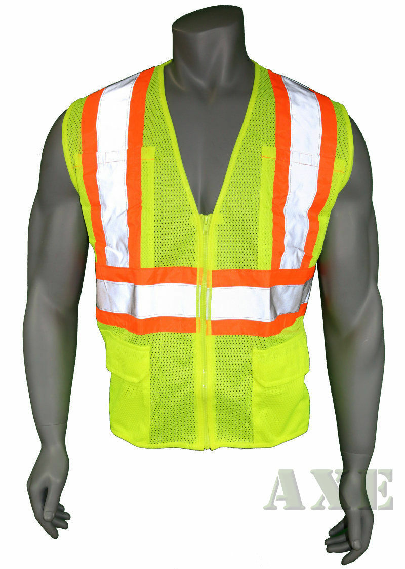 High Visibility Vest, Mesh, Class 2 Safety Vest with 6 Pocke