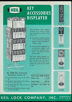 Super Rare Vintage Original 1966 Keil Key Accessories Display Dealer Sheet Page