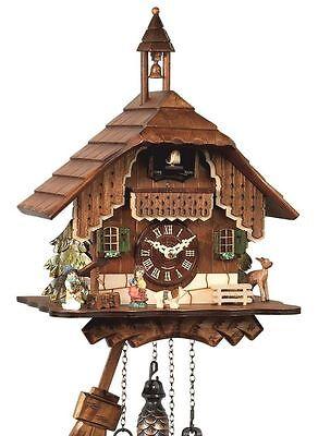 NEU Kuckucksuhr Schwarzwaldhaus Quarz Uhr Uhren mit  Glockenturm Holz