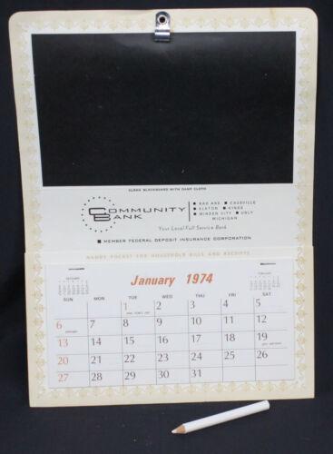Vtg Community Bank Calendar 1974 Advertising Blackboard Unused Bad Axe Michigan