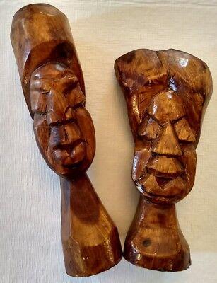 Hawaiian Tiki Wooden Busts Man + Woman Handmade 9 Inches + 10 Inches