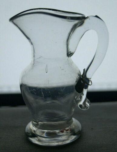 American Pittsburgh New England Blown Flint Glass Creamer Miniature Pitcher 1830