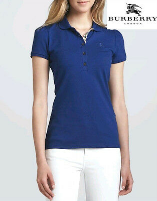 ❤$195.00 Burberry Brit Womens Puff-Sleeve Polo Shirt Bright Opal Blue New Large❤