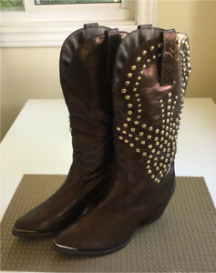 Brand new genuine leather studded riding show boots - 9m