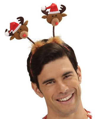 Herren Wackelnde Rentier Haarreifen mit Mütze Hut Weihnachtsfeier Weihnachten