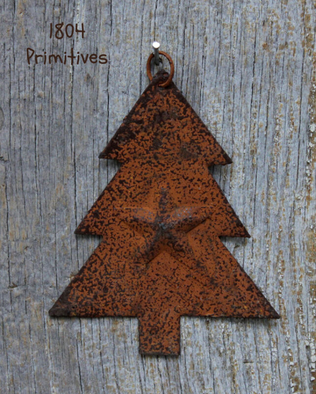 "8 - Rusty TREE Ornaments  - 3"" tall"