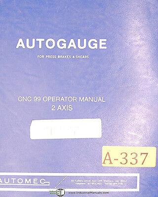 Autogauge Automec Cnc 99 Press Brakeshears Operation Programming Manual 1997