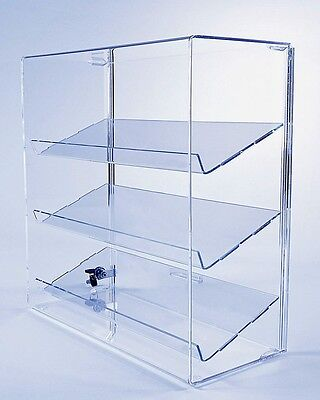 acrylic display case w 3 angled shelves locking collectible display case