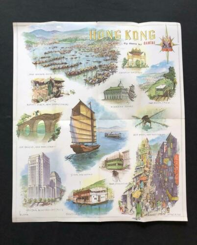 QANTAS AIRLINE Rare Original HONG KONG CHINA POSTER BROCHURE, 1966 Australia