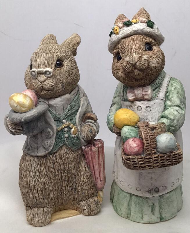 Vintage Pair Easter Bunny Rabbit Momma & Grandpa Figurines Signed U.D.C 1987