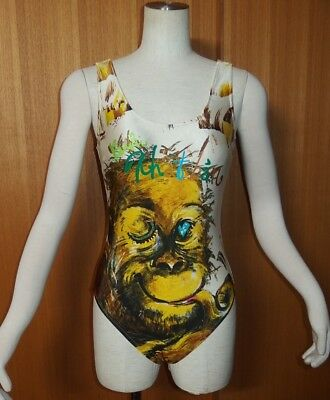 Vintage! Cute! Rare! KANSAI YAMAMOTO one piece swim suit wear M RETRO SEXY