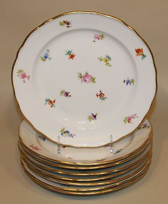 8 Meissen Scattered Flowers China 9-3/4 Inch Dinner Plates Hard to Find