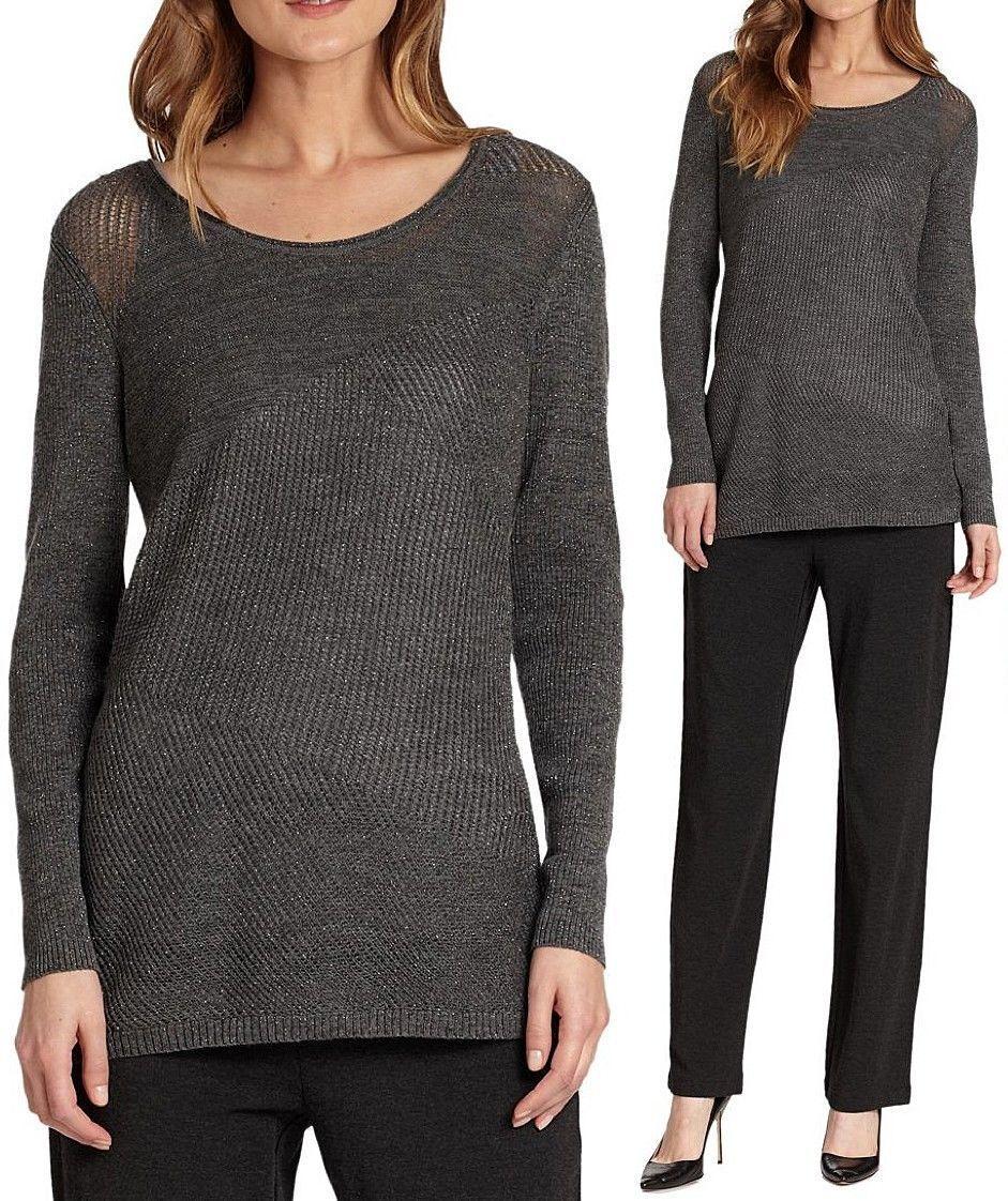 Xl Sweater Knitting Pattern : Eileen fisher new metallic shimmer merino twinkle ballet