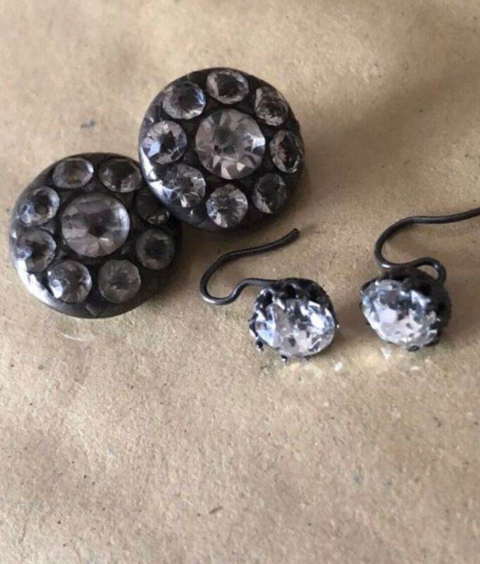 victorian paste earrings & buttons