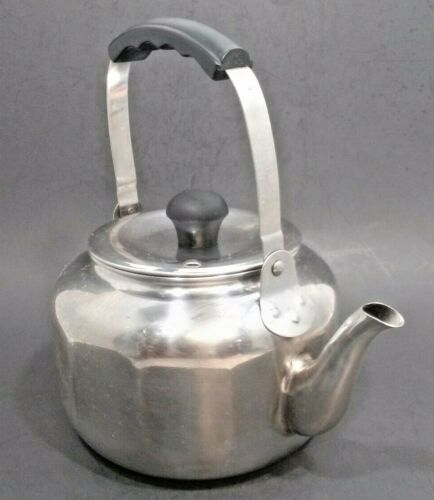 Farberware #7020 Tea Kettle Paneled Stainless Steel Swing Handle Vintage