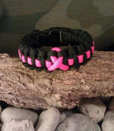 550 Paracord Survival Bracelet Black Cobra Pink Line and Ribbon Cancer Awareness