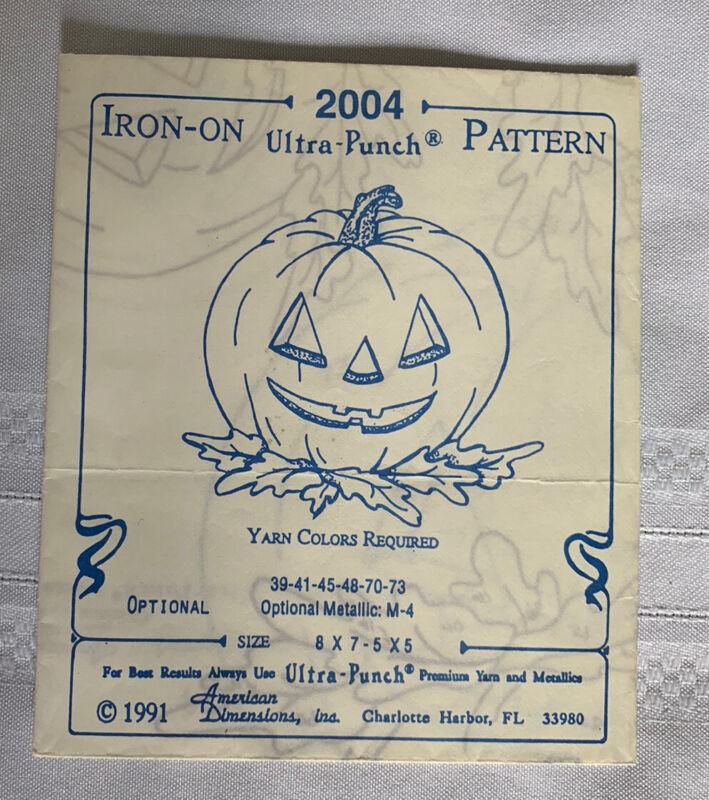 Vintage 1991 Ultra-Punch Iron On Pattern #2004 Pumpkin Jack O Lantern Halloween