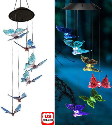 Solar LED Garden Outdoor Wind Chimes Colour Changing Lights Hanging butterfly US Décor