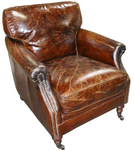 "Set Of Three 28"" W Club Arm Chair Vintage Brown Cigar Leather Great Comfort"
