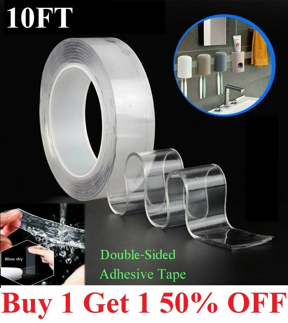 10FT Nano Magic Tape Double Sided Traceless Washable Adhesive Invisible Gel Adhesives & Tape