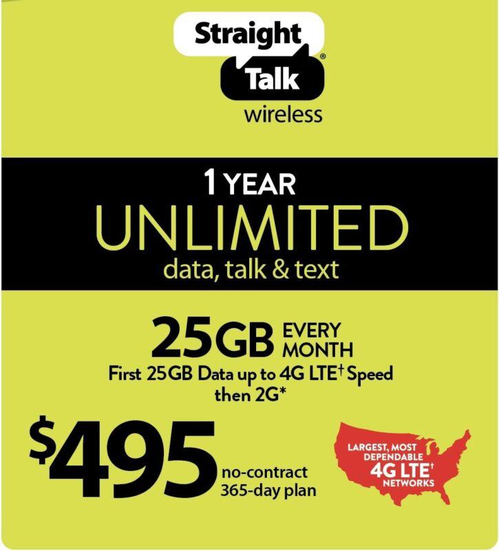 Straight Talk $495 Refill Card 25GB LTE Unlimited Talk,Text,Data,1Year,365 Days