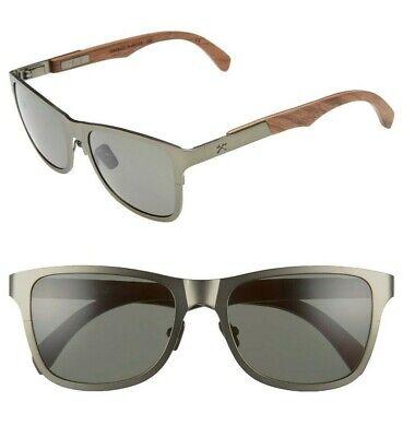 NWT Shwood Canby Titanium & Wood Square Sunglasses Gunmetal / Walnut / G15 (Canby Woods)