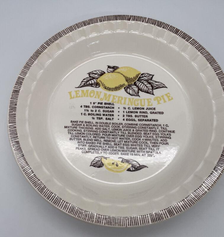 "Vintage Jeanette Royal China Pie Plate Lemon Meringue Pie 11"" Dia. W/ Recipe"