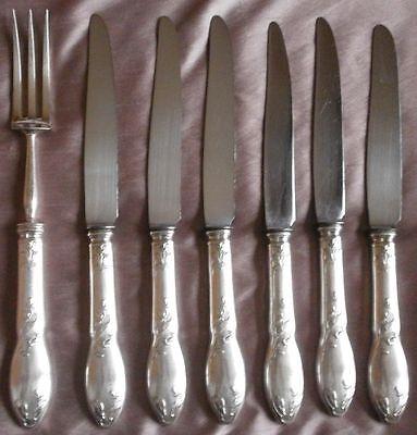 BOULENGER 6 couteaux & 1 fourchette service métal argenté art nouveau