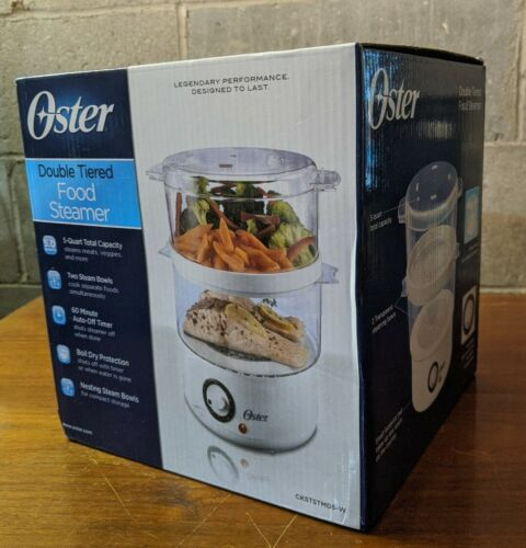 Oster Double Tiered Food Steamer - 5 Quart With Timer - Whit
