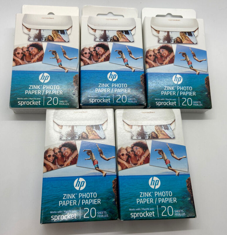 HP ZINK Photo Paper for HP Sprocket Photo Printer 100 Sheets (5 Boxes of 20)