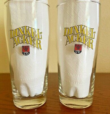 VINTAGE Dinkel-Acker CD Beer Glasses Germany .5L Lot of 2 w Yellow Letters