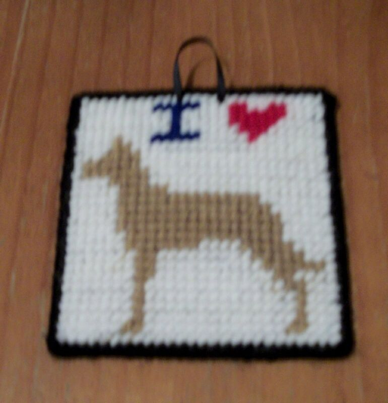 Brand New Needlepoint Sign I Love Tan GREAT DANE For Dog Rescue Charity