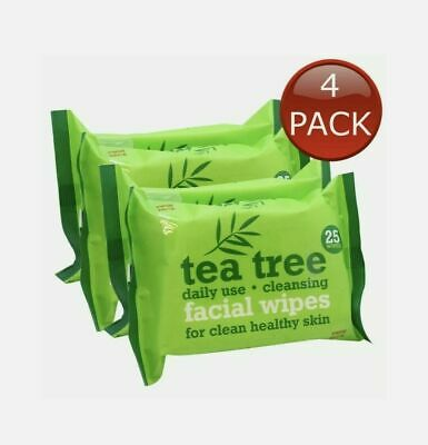 4 x 25 Tea Tree Daily Use Cleansing Facial Face MakeUp wipes.