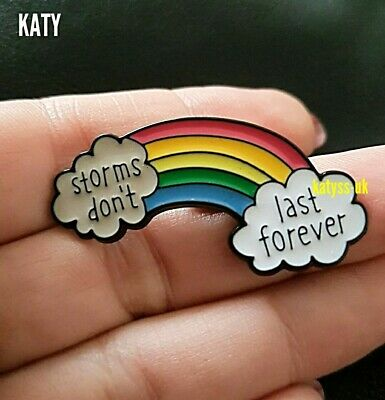 Storms Don't Last Forever Rainbow  Badge Vintage Pin Enamel Brooch Broach  Gift