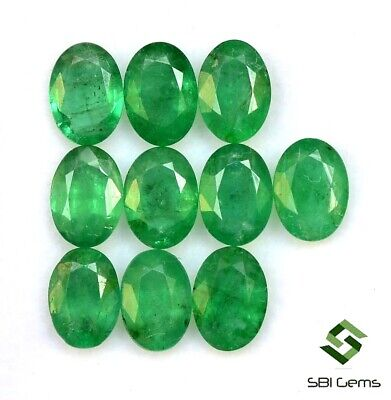7.53 CTS Certified Natural Emerald Oval Cut 7x5 mm Lot 10 Pcs Faceted Loose Gems