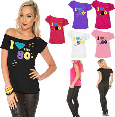 Ladies I Love The 80s T Shirt Fancy Dress Party tshirt Womens Retro Pop Star Top