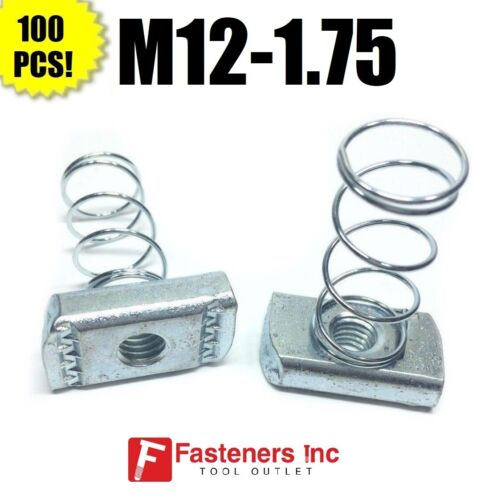 (QTY 100) M12-1.75 Metric Strut Spring Nuts for Unistrut Channel #4198