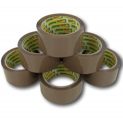 12 Rolls Of Brown Buff Parcel Packing Tape Packaging Carton Sealing 48mm X 66m