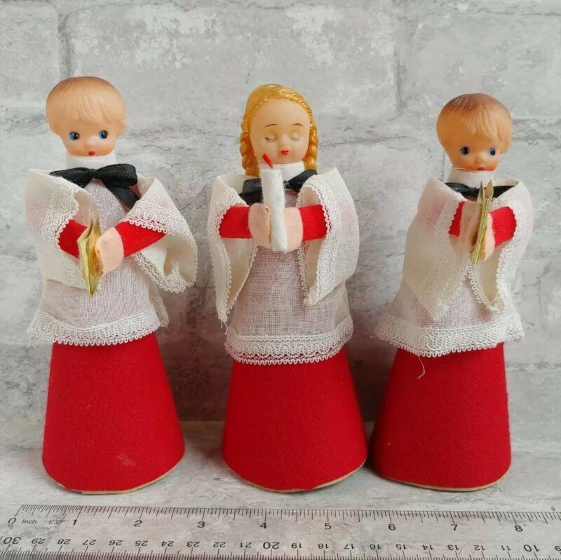 3 Pc Vintage JAPAN Cardboard CHRISTMAS Choir Acolyte Set, Rubber Heads Kitschy