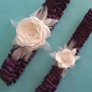 Wedding Garter Set - Satin Feather Rose