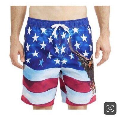 Men's Patriotic American Flag Swim Trunks NWT BEST EAGLE