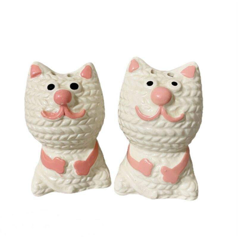 Vintage White & Pink Cat Salt & Pepper Shakers Japan Ceramic