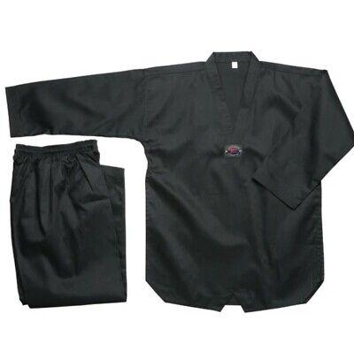 taekwondo Black Ribbed Uniform size 3 (170)