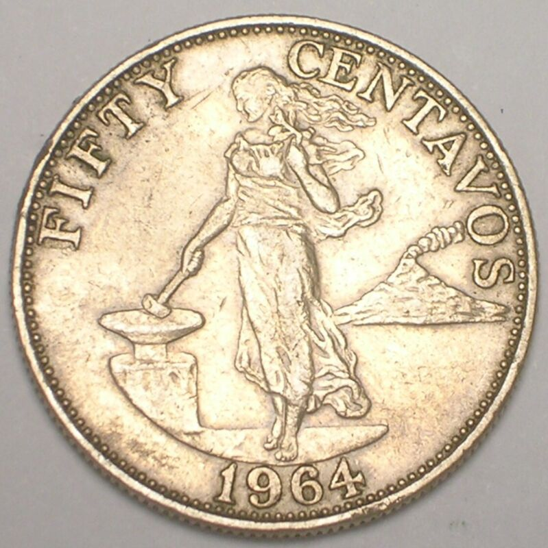 1964 Philippines 50 Centavos Filipinas Coin VF+