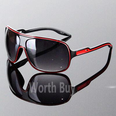 Mens Womens Wrap Around Oversized Designer Sunglasses Shades Fashion Black Red ()