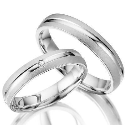 925 Silber 2 Trauringe Eheringe Verlobungsringe Paarringe Inkl. Gravur WOW