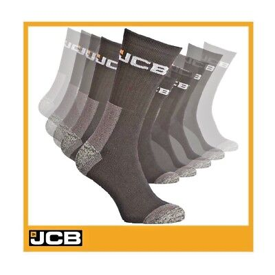 JCB Men's 12 Pairs Black Socks Official Thermal Construction Work Cotton Rich